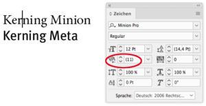 "Abstand bei ""Minion Pro"""
