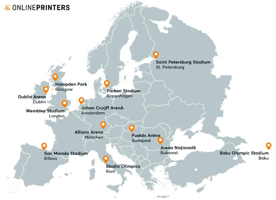 Europakarte mit den 12 Standorten der Austragungsorte