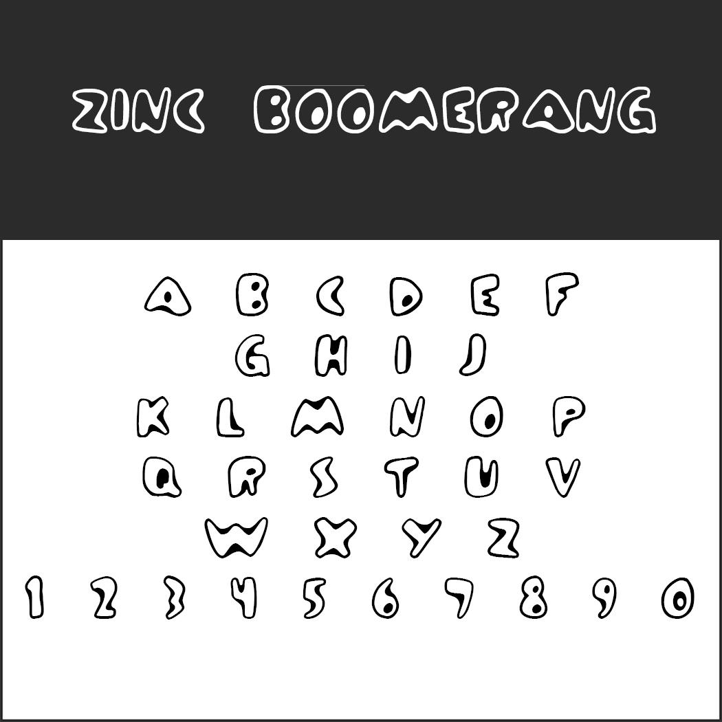 """Graffiti Schriftart """"Zinc Boomerang"""""""