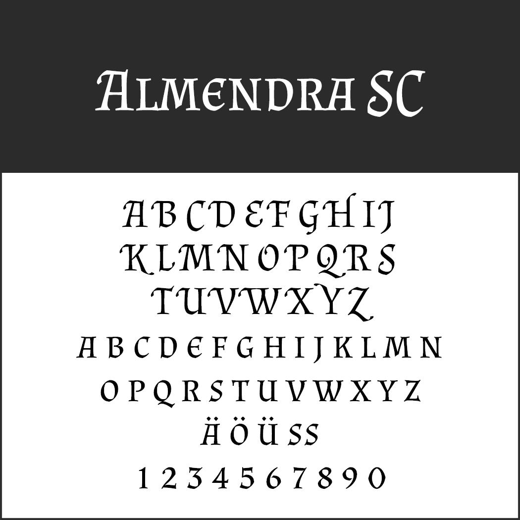 Mittelalter Schrift: Almendra SC