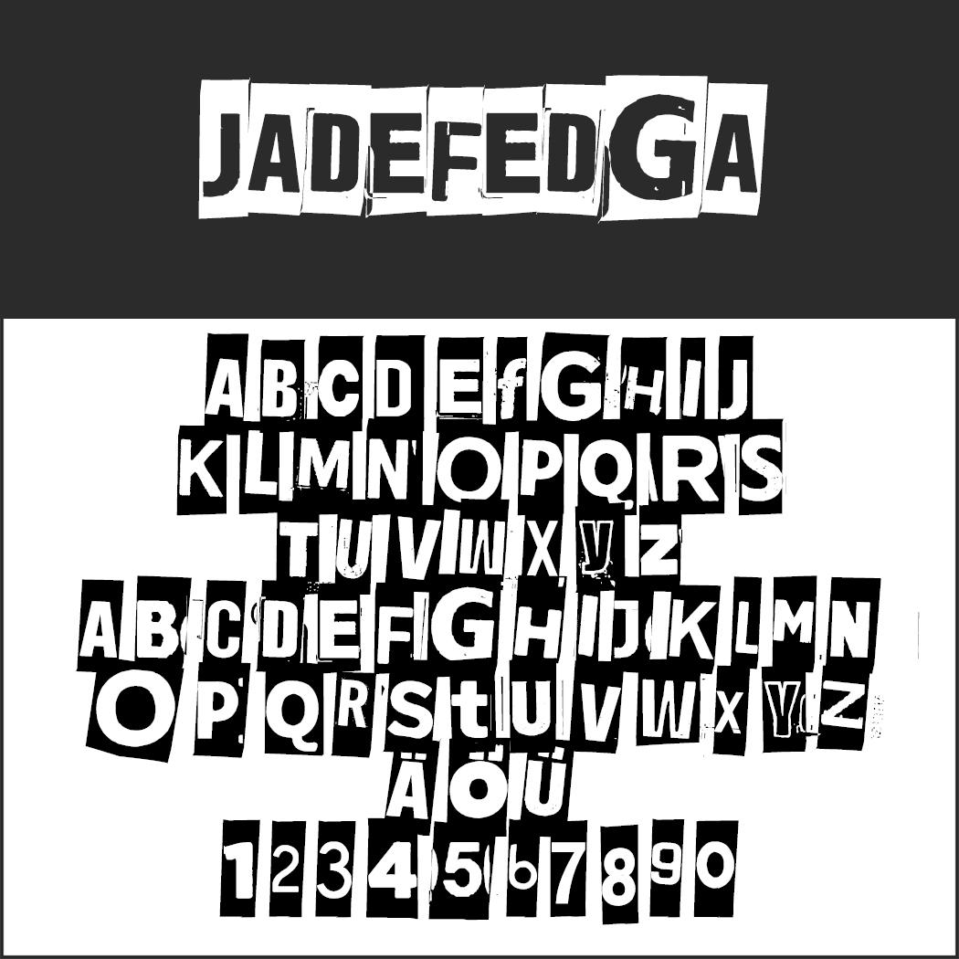 "Stempel Schrift ""JADEFEDGA"""