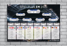 EM 2021 Spielplan aufgehängt