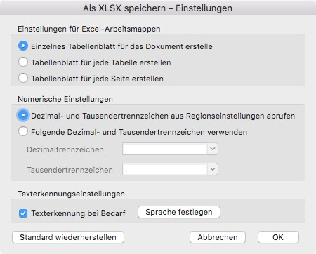 Voreinstellungen Adobe