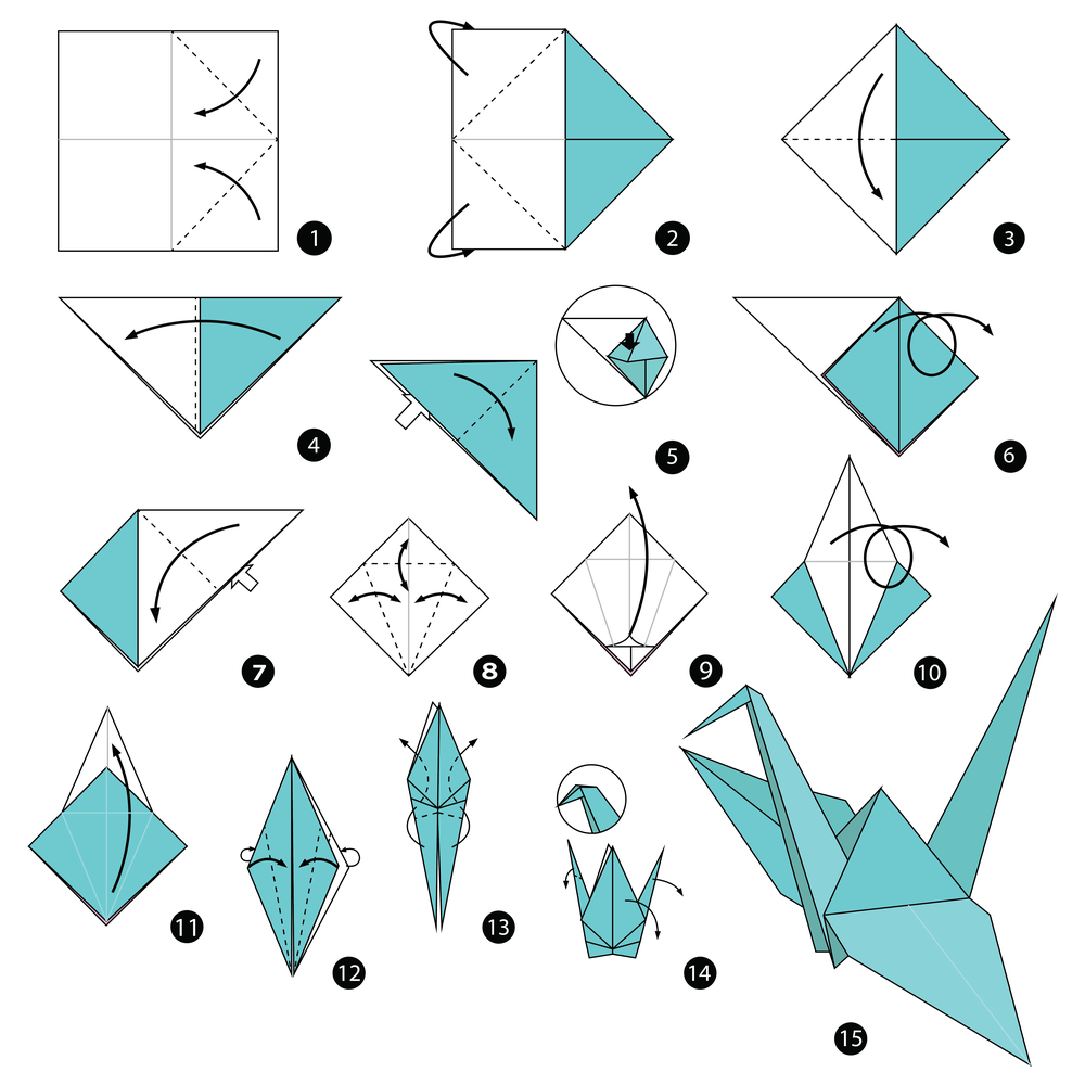 origami faltanleitung für einen kranich