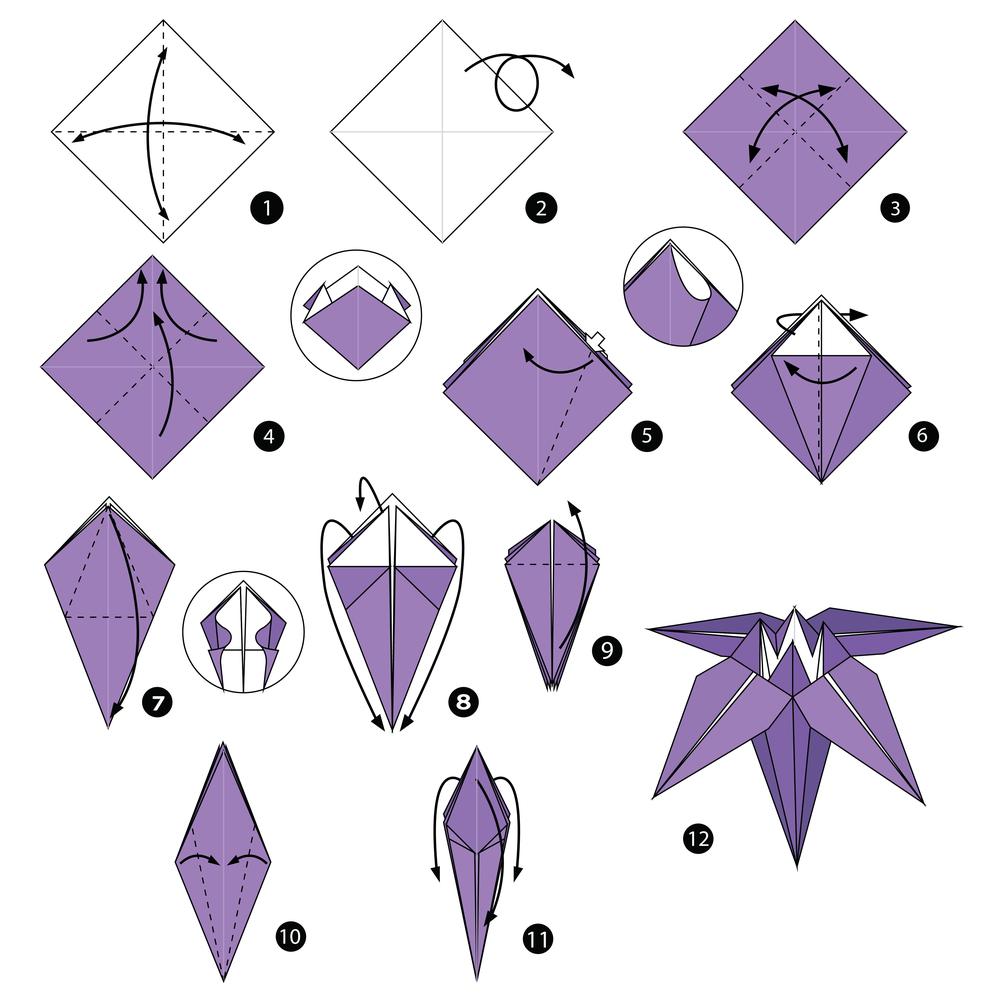 Origami Faltanleitung für eine Lilie