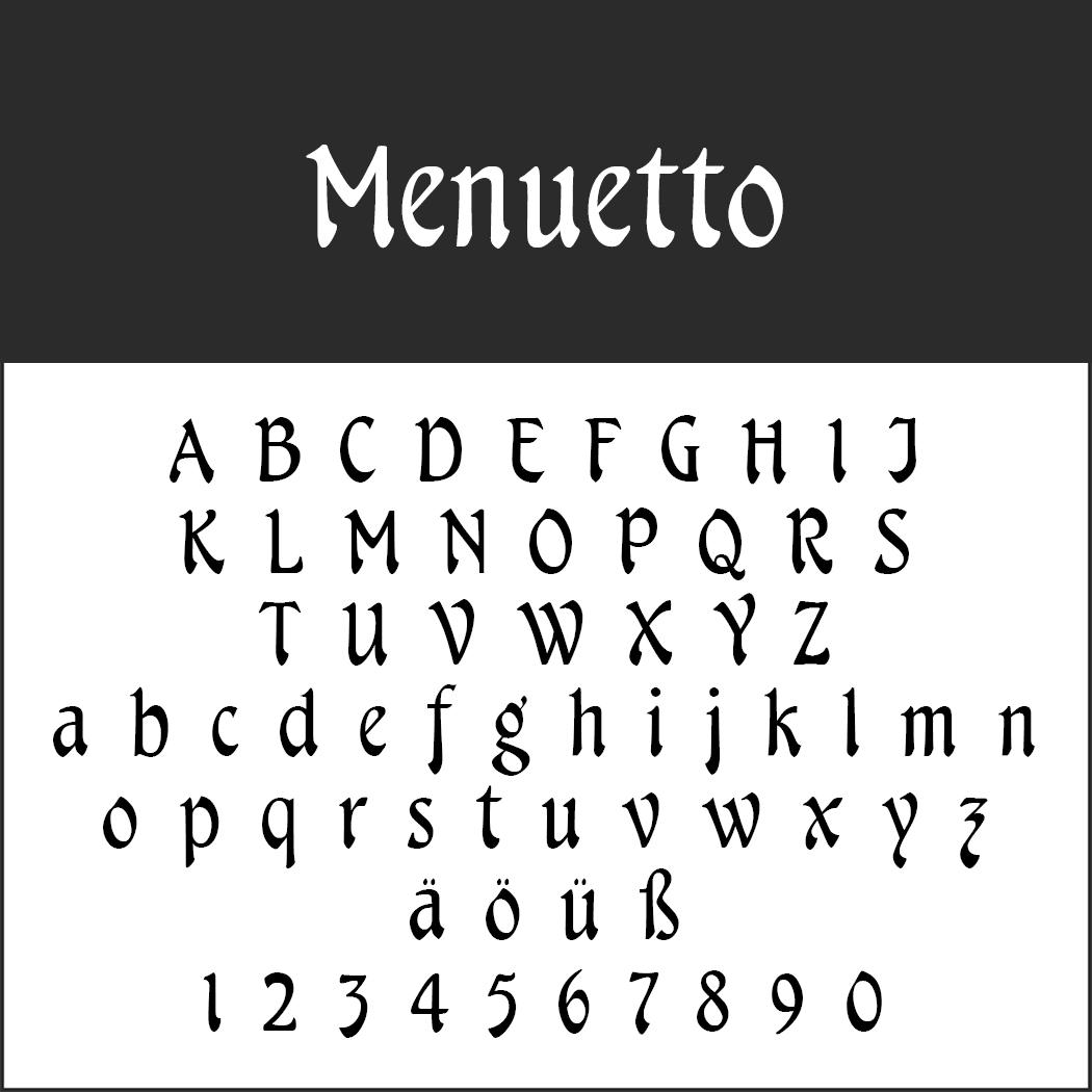 Schriftart: Menuetto