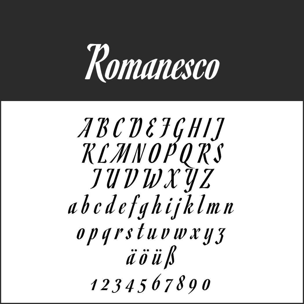 Antike Schrift: Romanesco