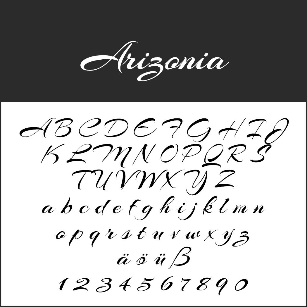 """Schöne, schnörkelige Schriftart """"Arizonia"""""""