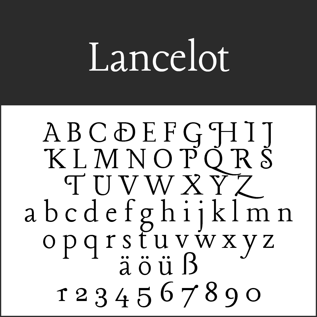 """Schöne, schnörkelige Schriftart """"Lancelot"""""""