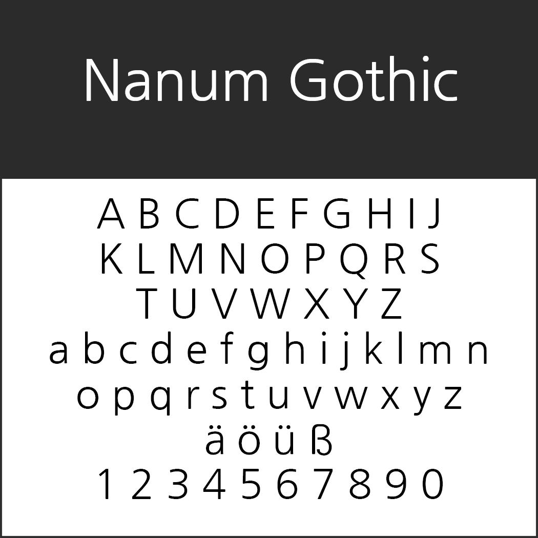 """Schöne, serifenlose Schriftart """"Nanum Gothic"""""""