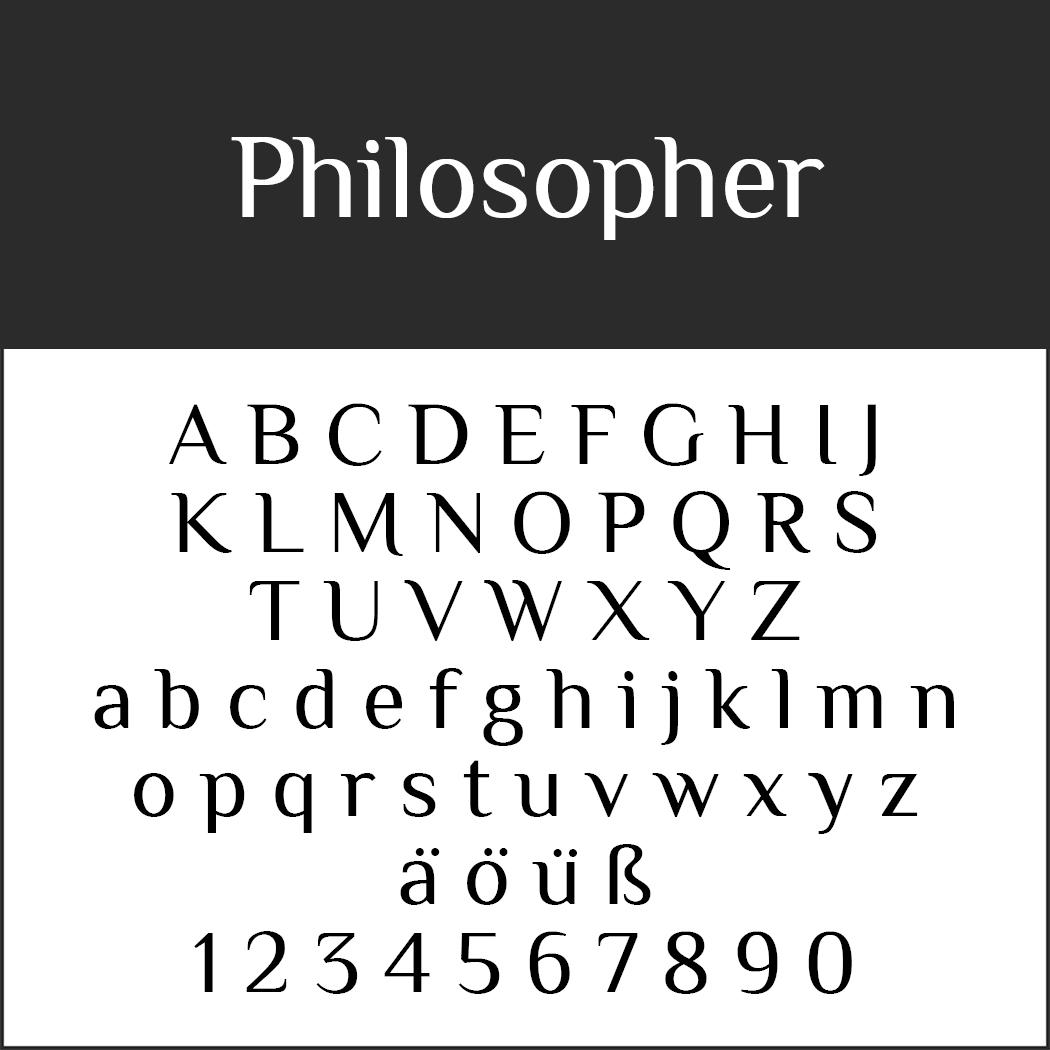 """Schöne, serifenlose Schriftart """"Philosopher"""""""