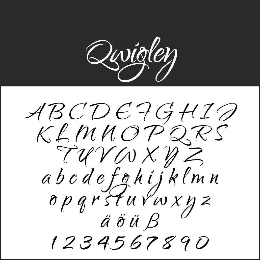 Künstlerische Schreibschrift: Qwigley