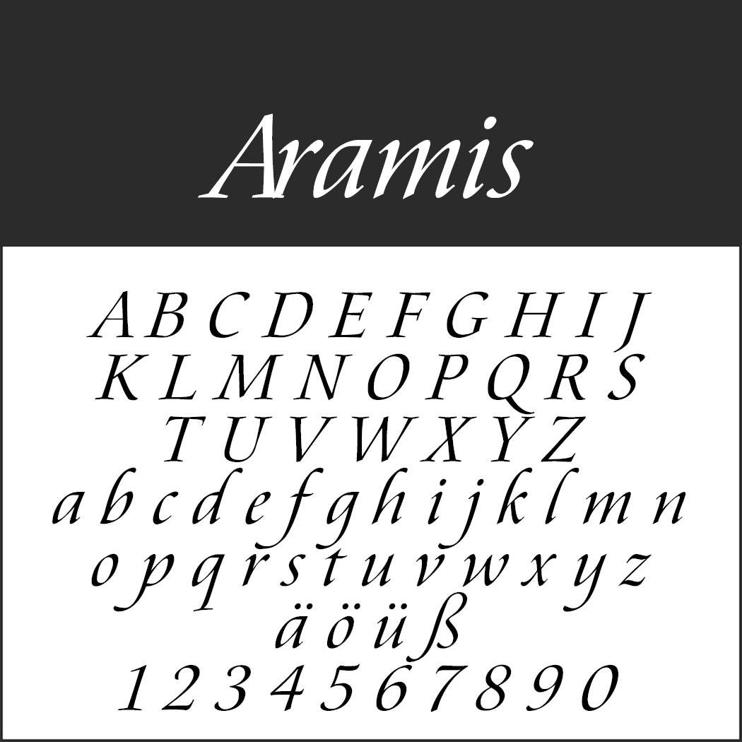 """Schrift """"Aramis"""""""