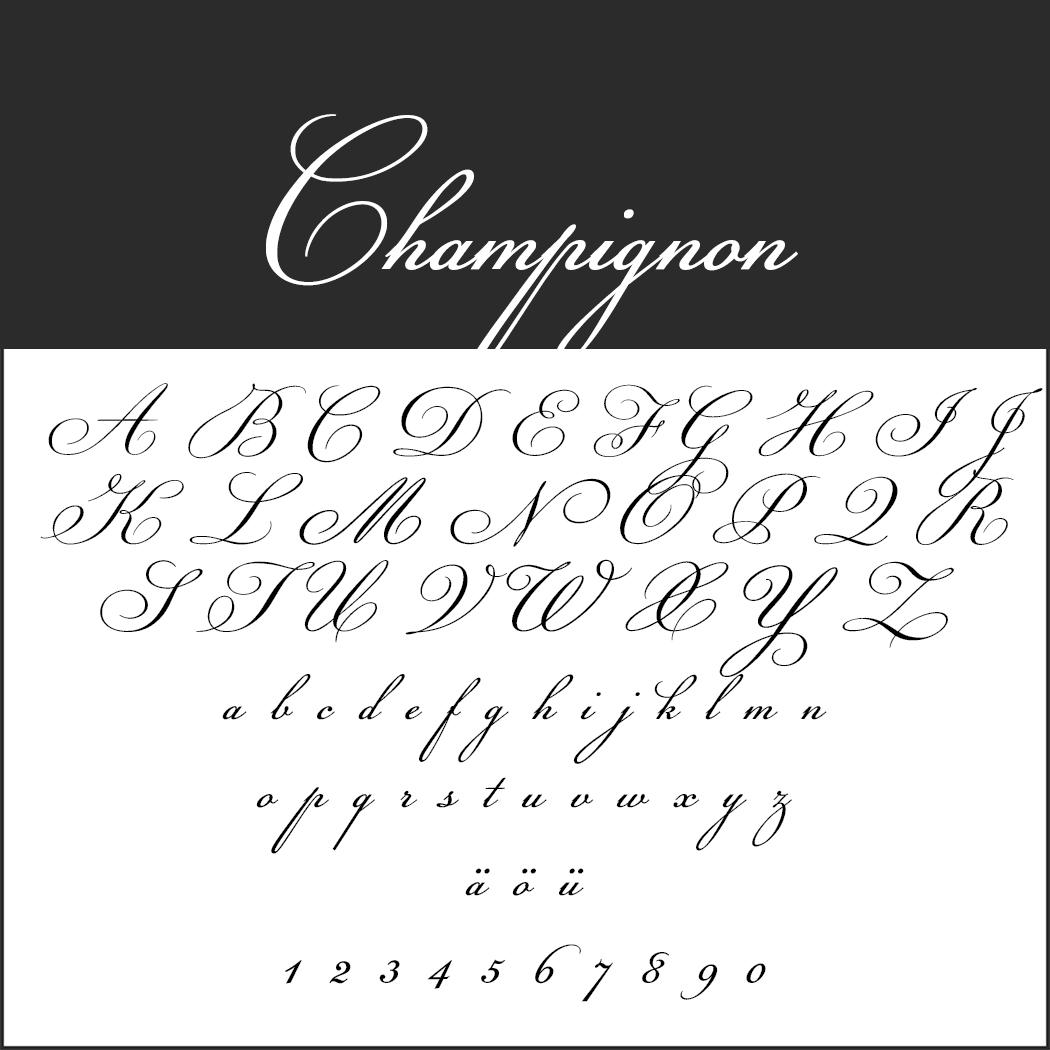 Edle Schriftart: Champignon