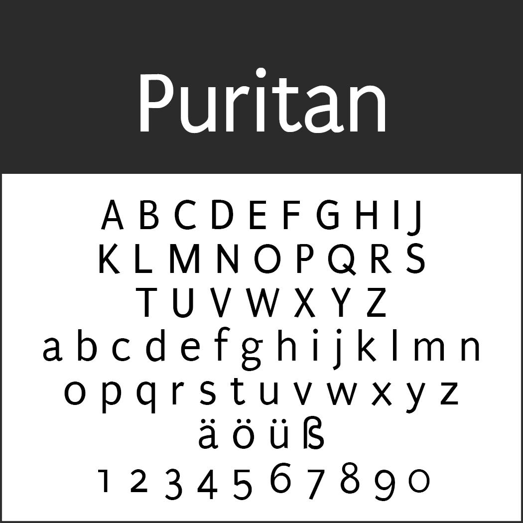 """Schrift """"Puritan"""""""