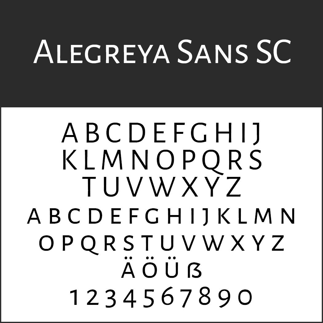 Schriftart Großbuchstaben Alegreya Sans SC