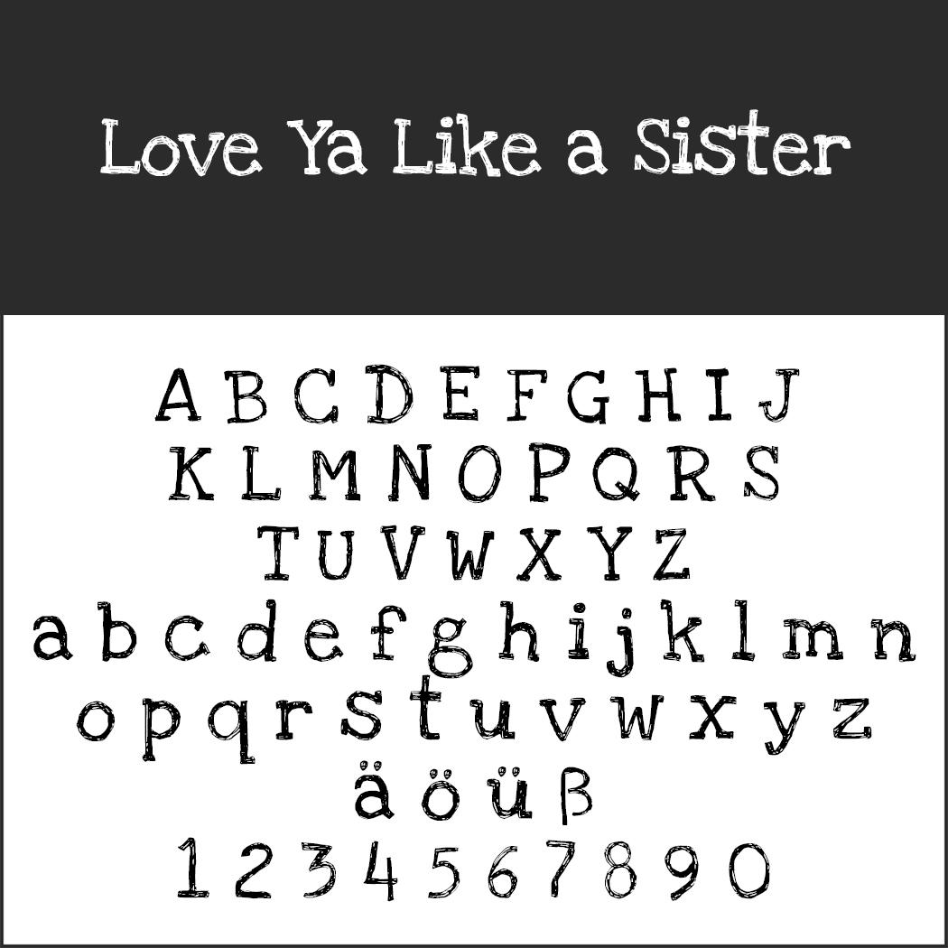 Font Template Love-ya-like-a-Sister