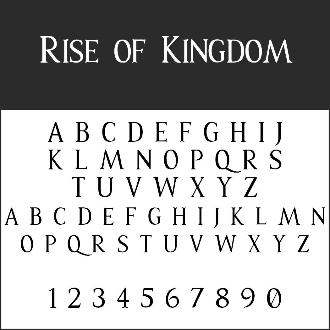 Schriftart Großbuchstaben - Rise of Kingdom