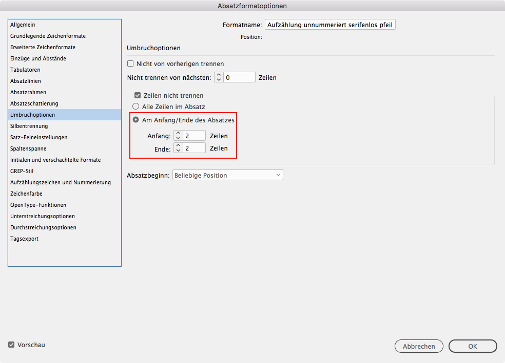 Adobe InDesign: Umbruchoptionen in der Absatzformatoption