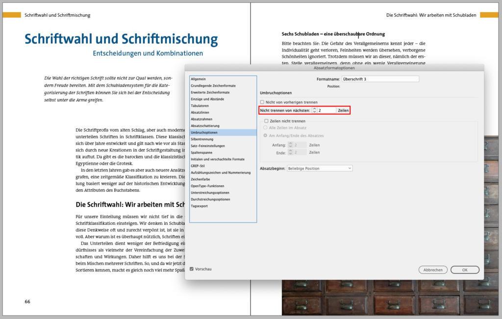 Überschrift und Grundtext in Adobe InDesign zusammenhalten