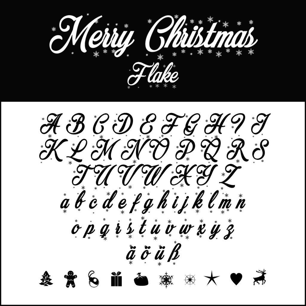 Christmas Fonts: Merry Christmas Flake