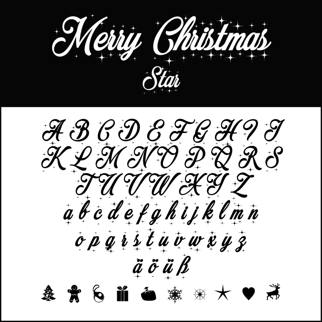 Christmas Fonts: Merry Christmas Star