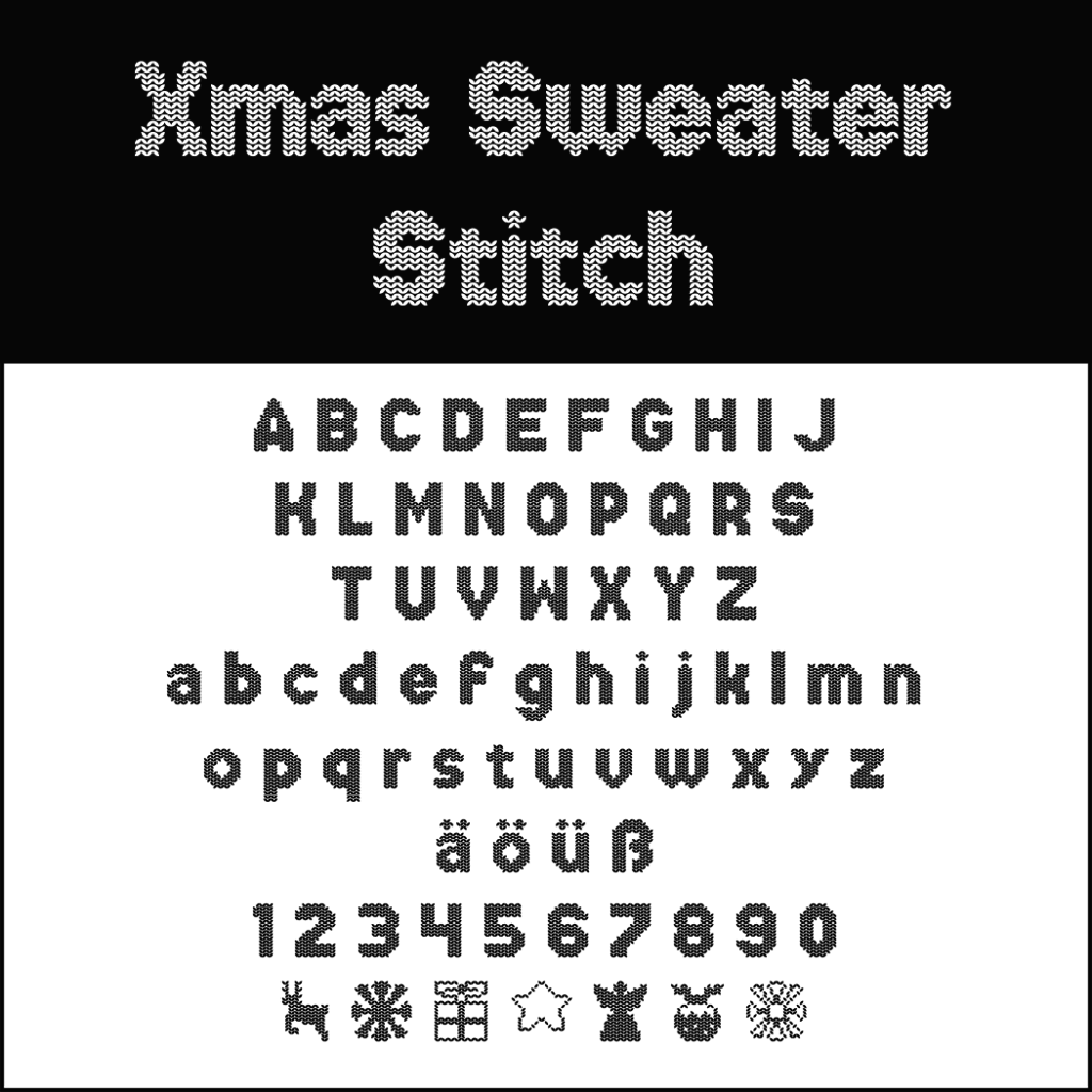 Christmas Fonts: Xmas sweater stitch