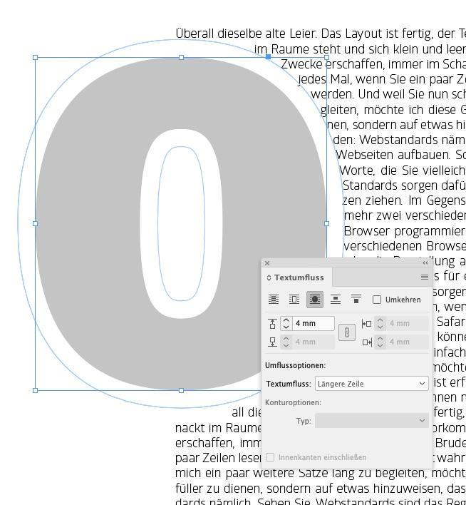 InDesign: Textumfluss einstellen für Kontursatz