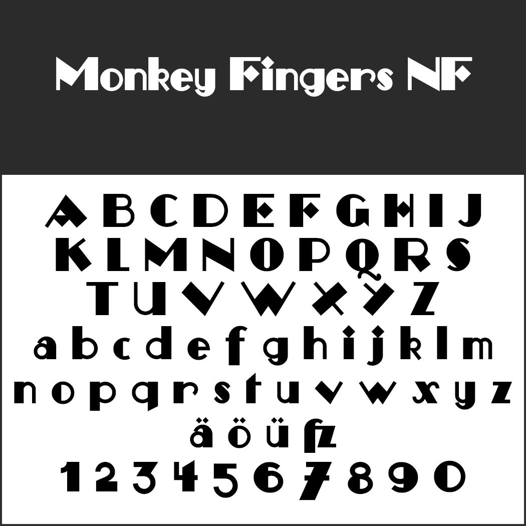 Schriftart: Monkey Fingers NF