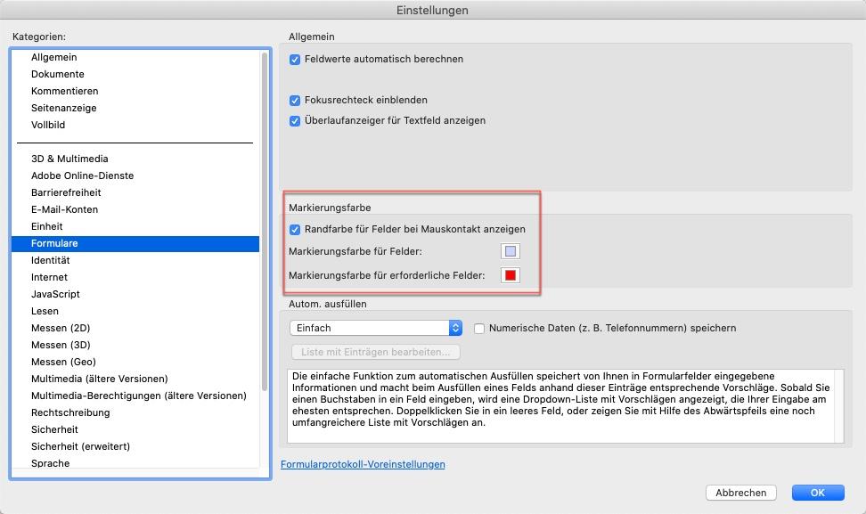PDF ausfüllen - Farbe einstellen