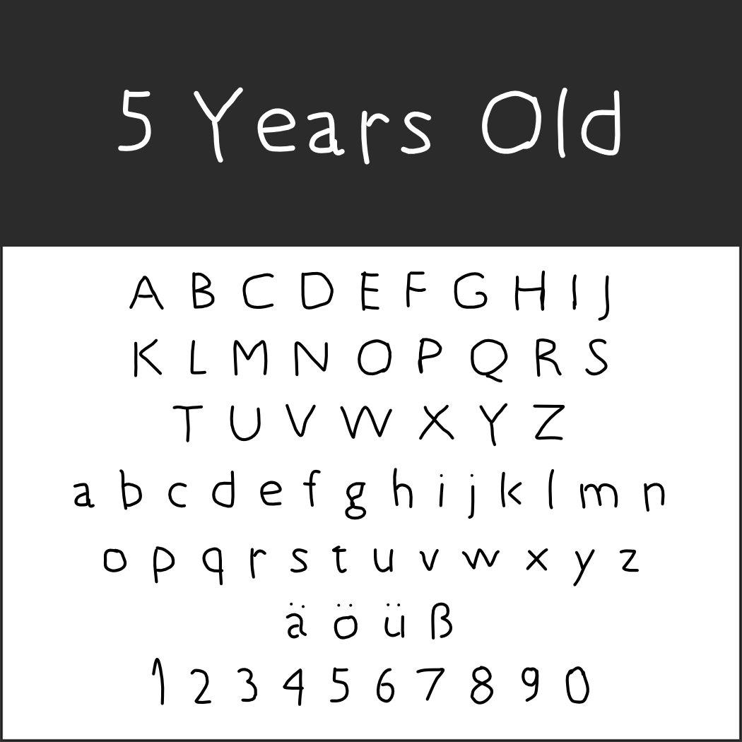Schriftarten Handschrift: 5 Years Old