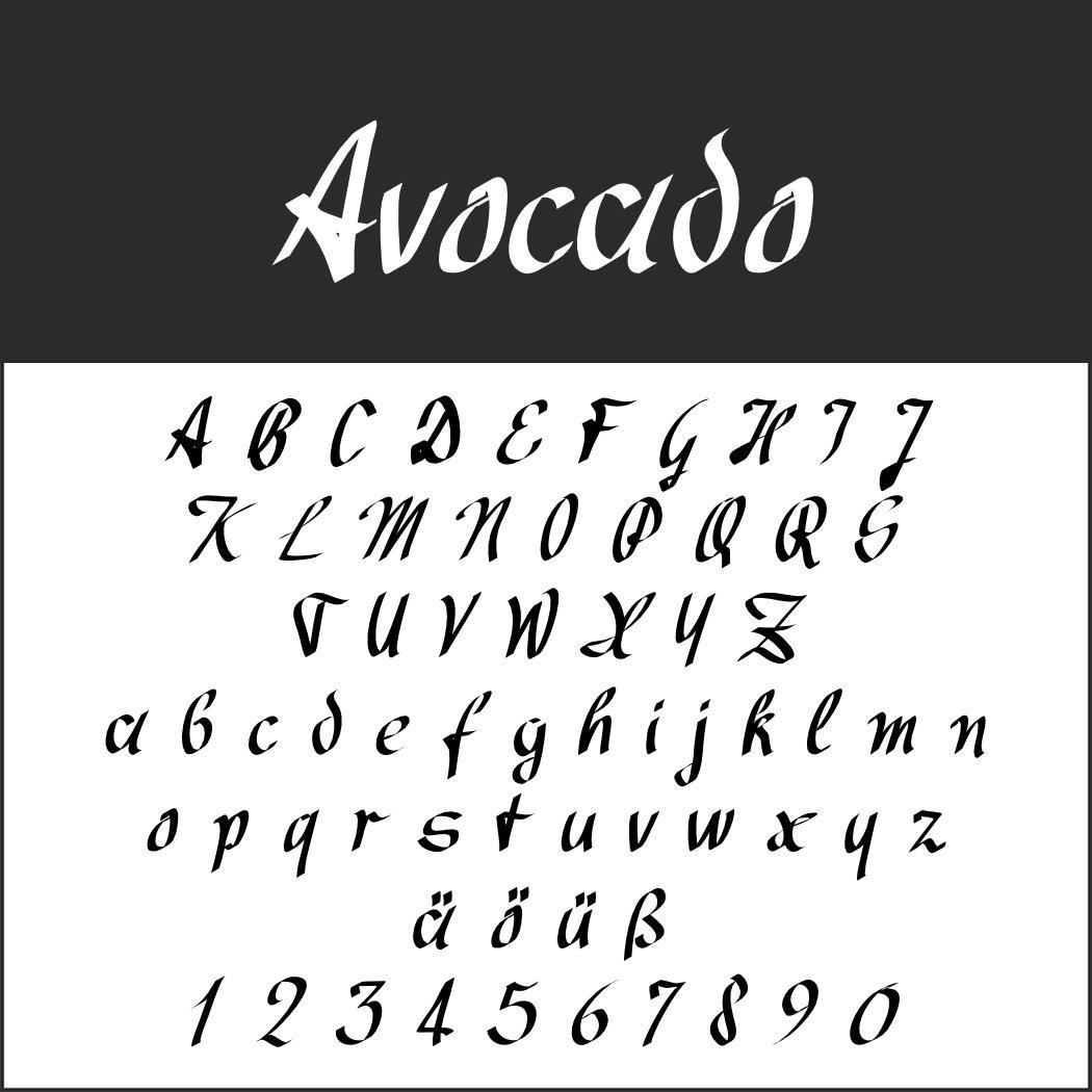 Handschriftliche Schriftart: Avocado
