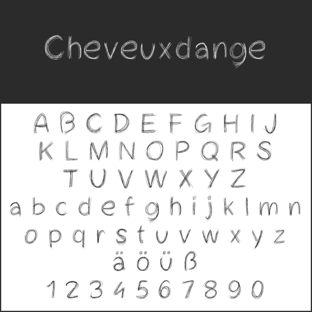Handschriftlicher Font: Cheveuxdange