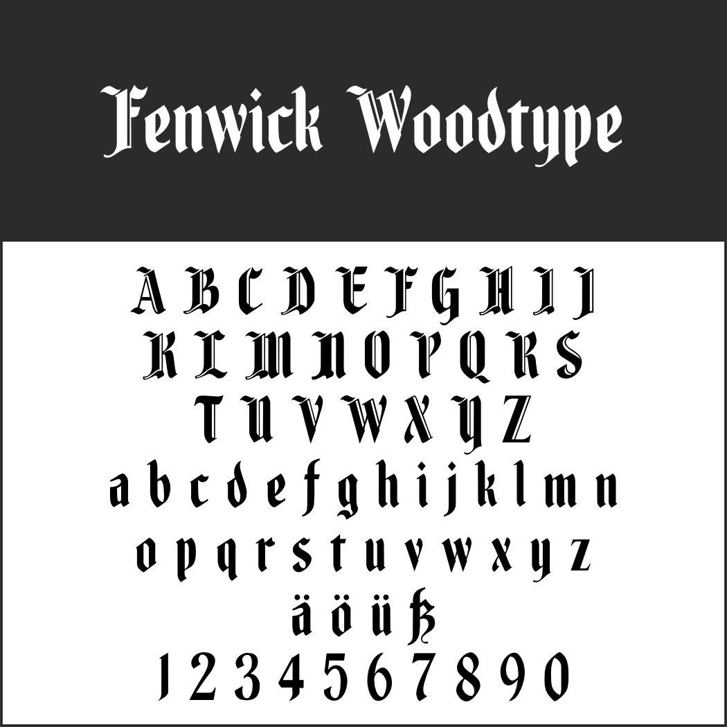 Old English Schrift: Fenwick Woodtype