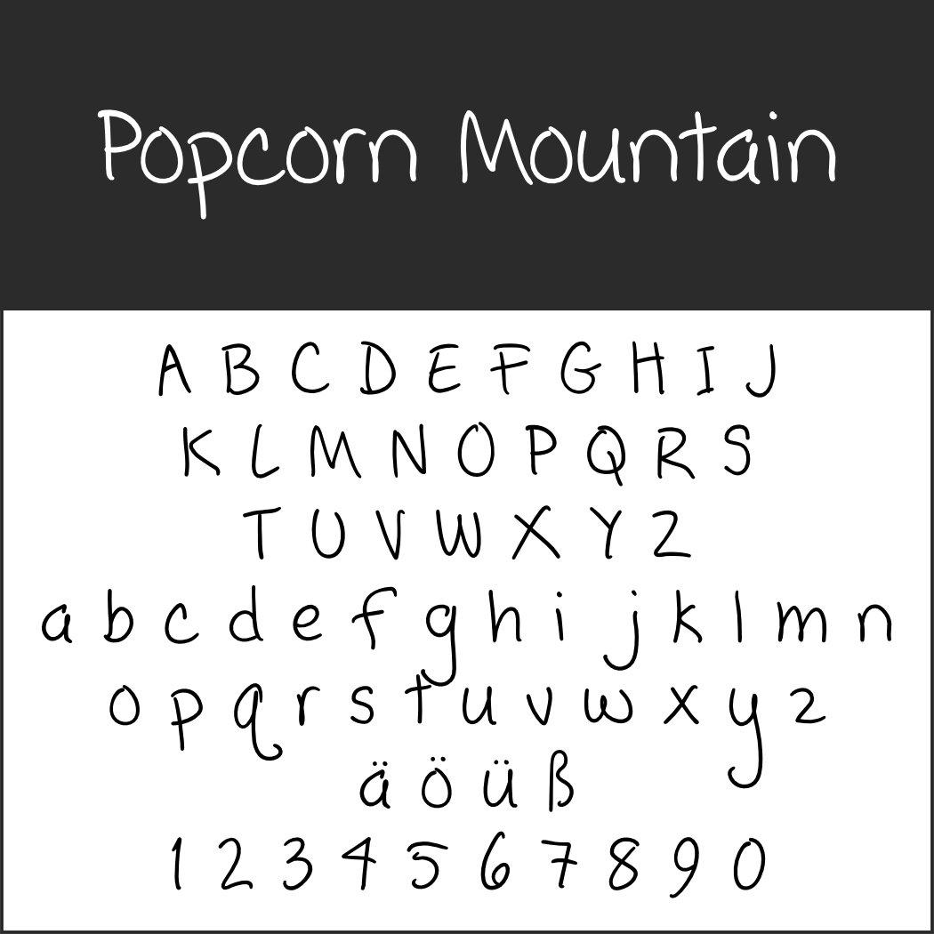 Handgeschriebene Schrift: Popcorn Mountain