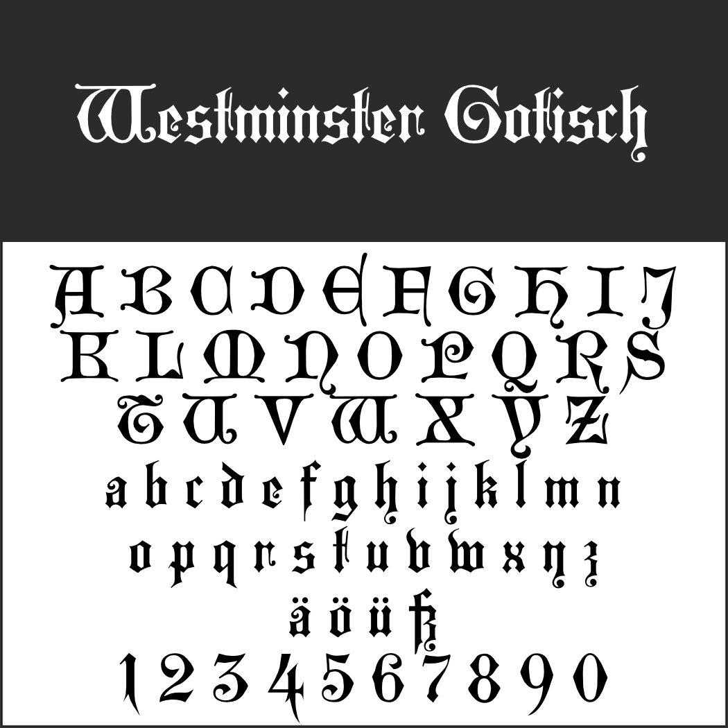 Old English Schrift: Westminster Gotisch