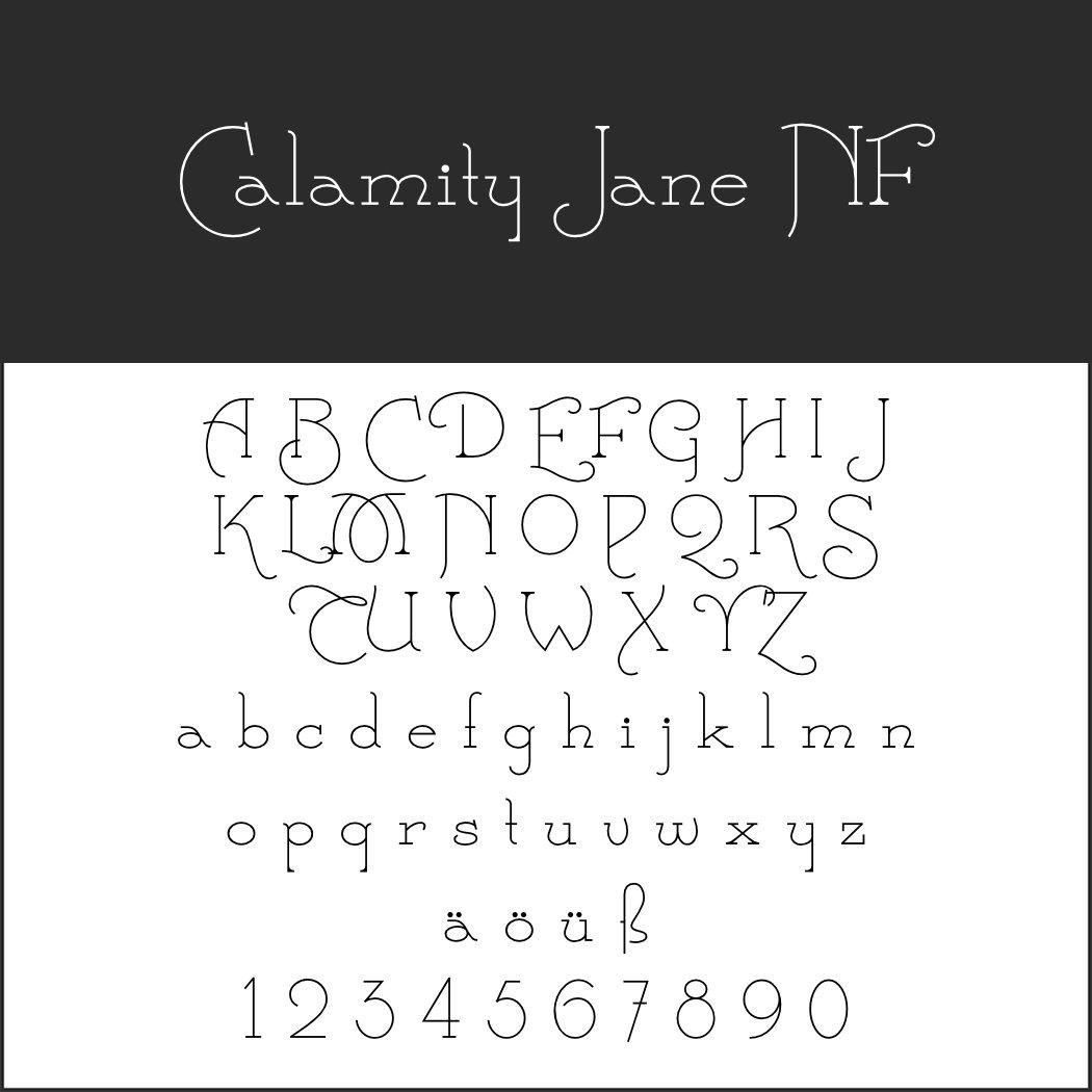 Art déco Schriftart: Calamity Jane NF