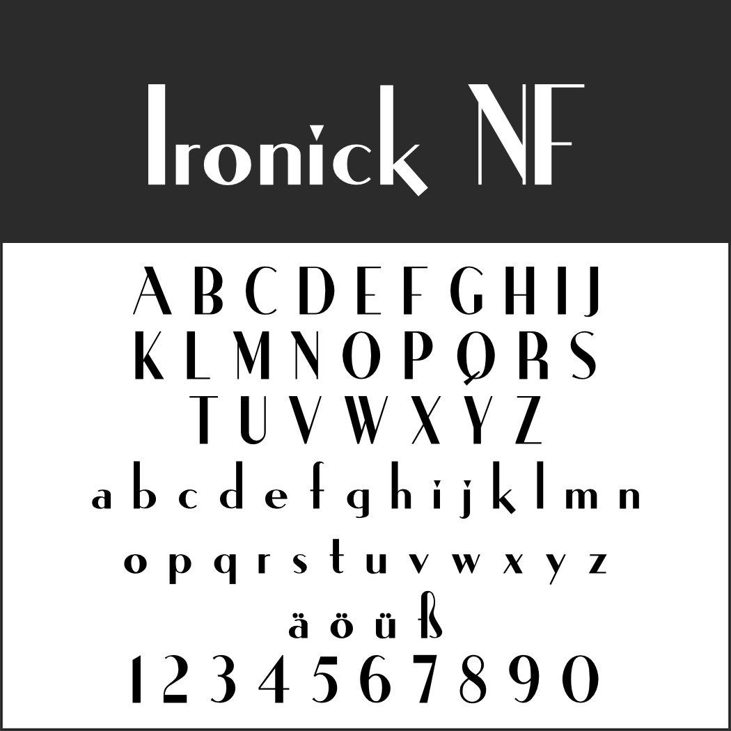 Art déco Schriftart: Ironick NF