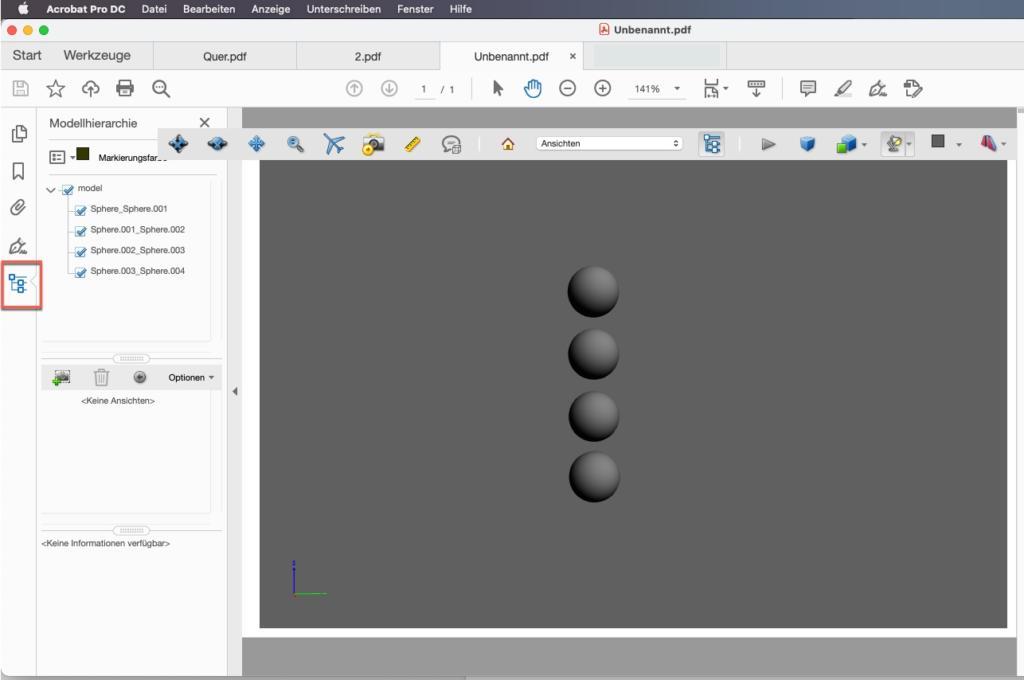 3D PDF öffnen Modellhierarchie