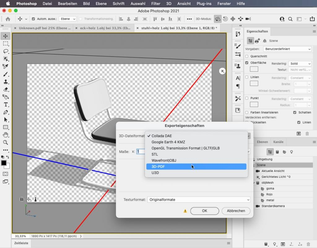 3D PDF Export aus Photoshop