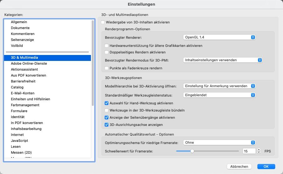 3D PDF öffnen Einstellungen
