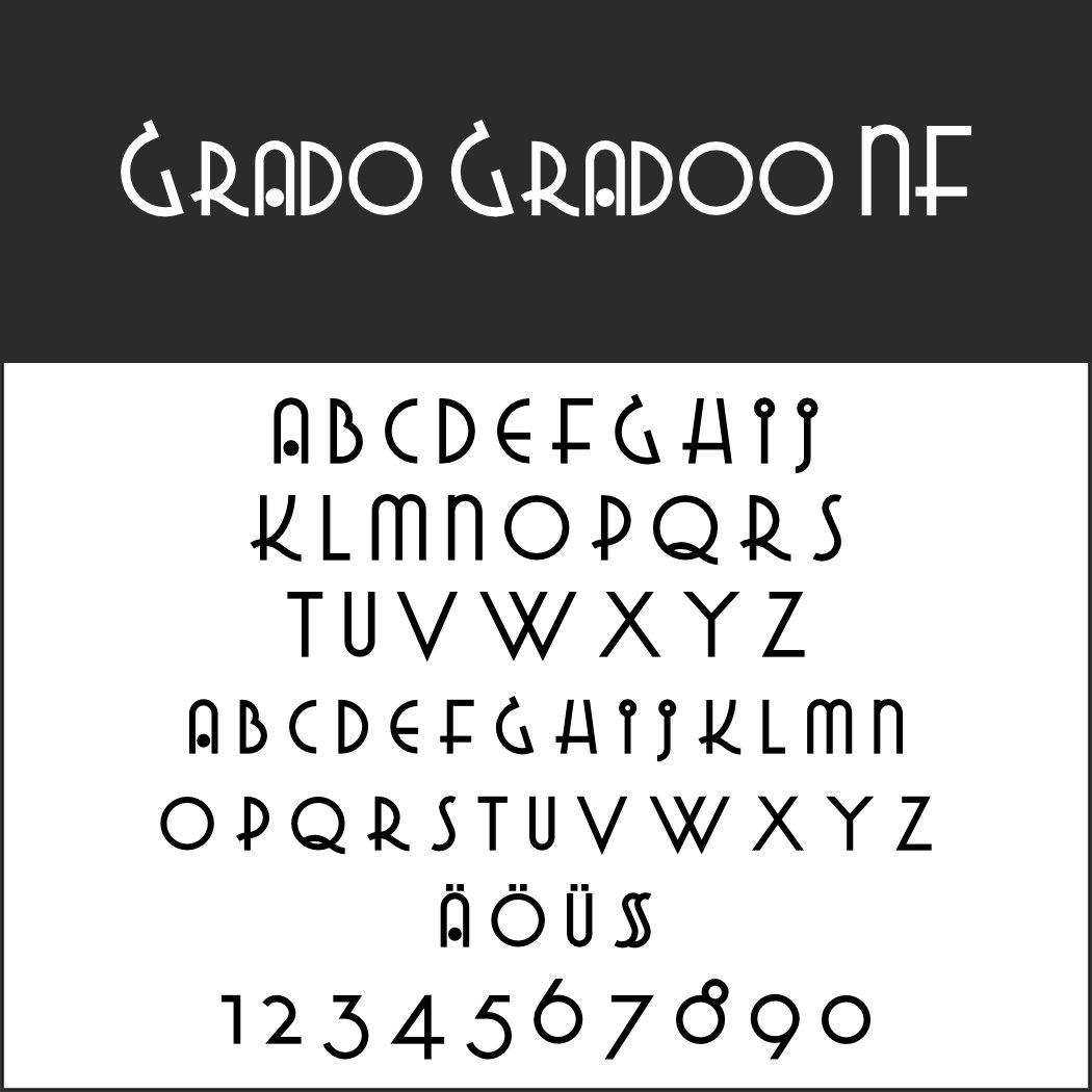 Italienische Plakatschrift: Grado Gradoo NF