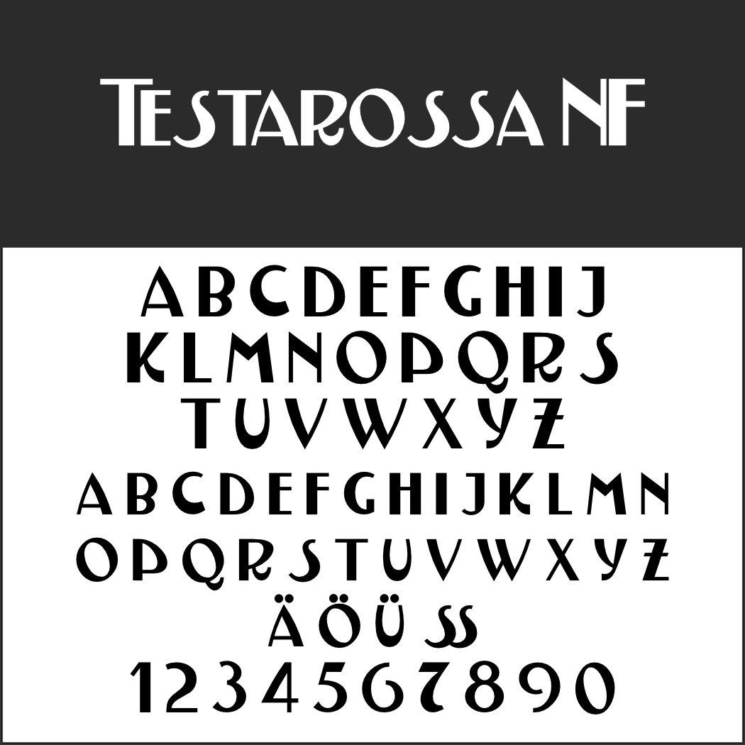 Italienische Plakatschrift: Testarossa NF