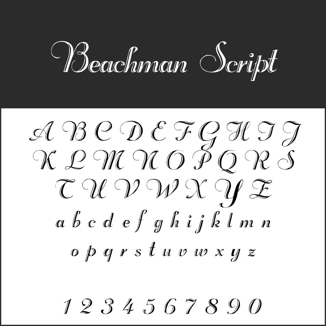 Schriftart: Beachman Script