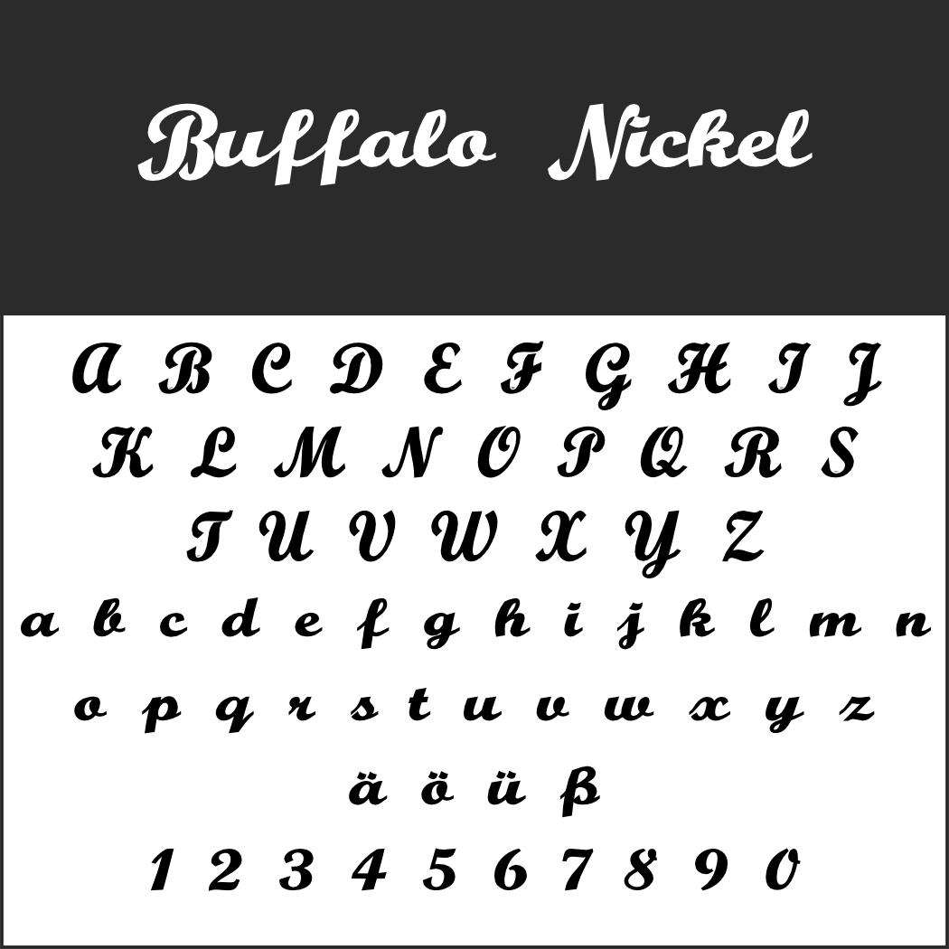Schriftart: Buffalo Nickel