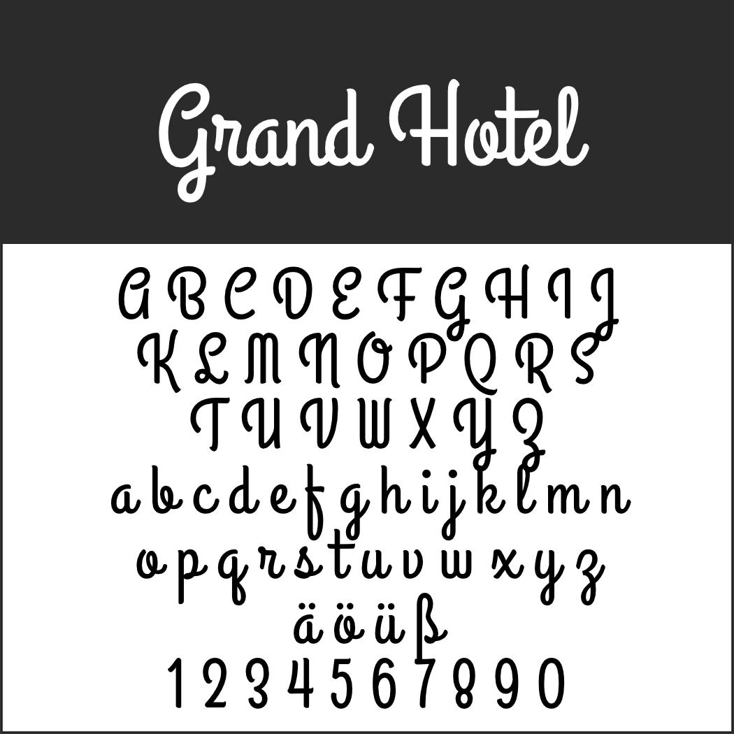 Schriftart: Grand Hotel