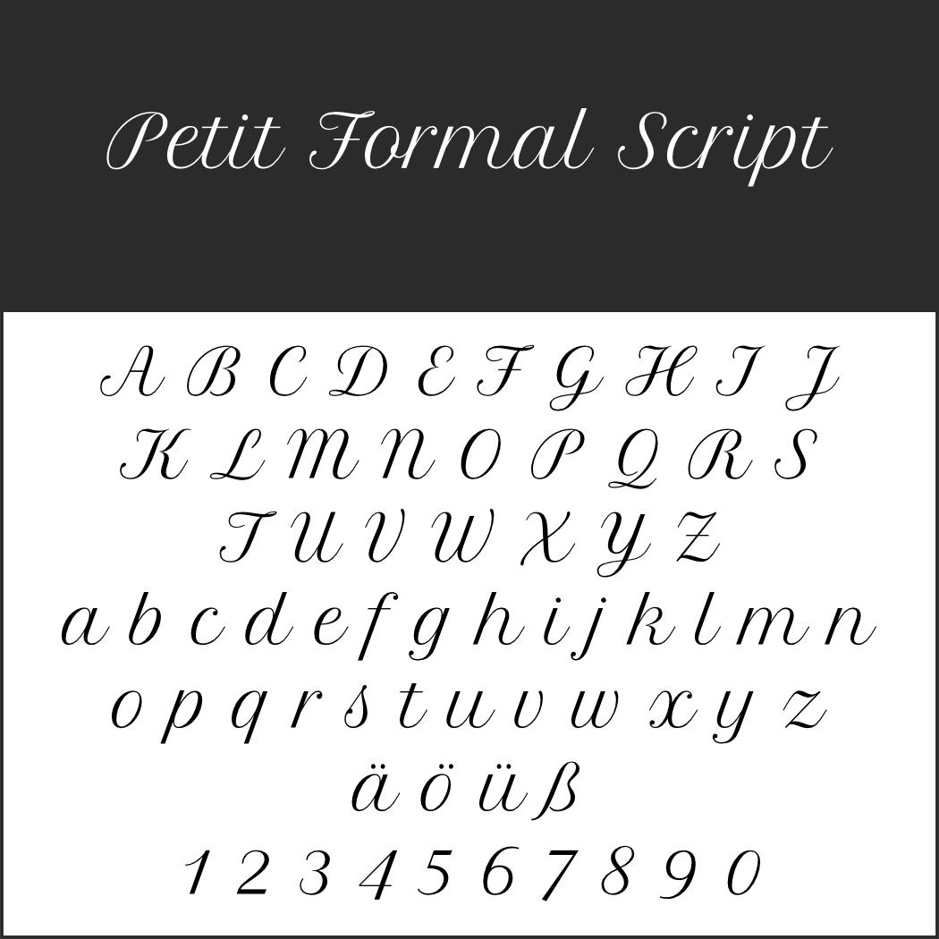 Schöne Schreibschrift: Petit Formal Script