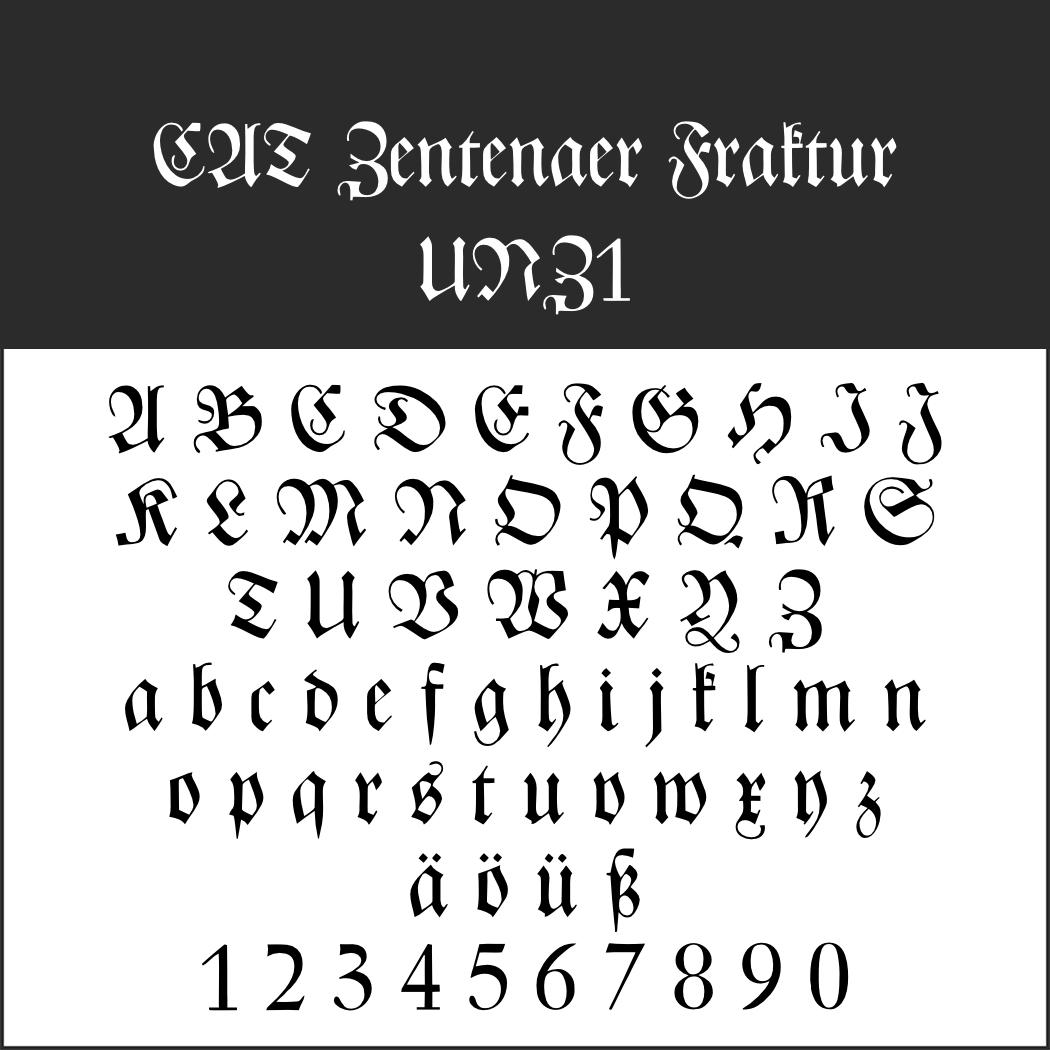 Gebrochene Schrift: CAT Zentenaer Fraktur UNZ1