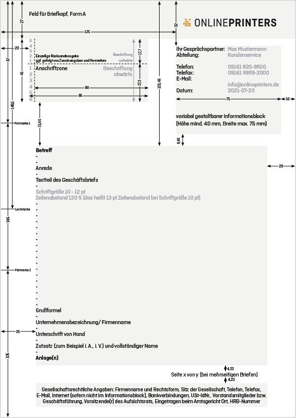 Geschäftsbrief nach DIN 5008 - Form A